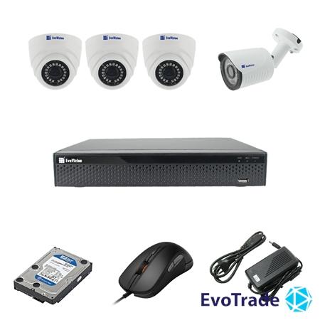 EvoVizion 3DOME-1OUT-240-LITE + HDD 1 Тб - Комплект видеонаблюдения на 4 камеры