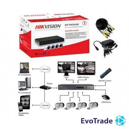 Изображение Комплект видеонаблюдения Hikvision  DS-J142I/7104HGHI-F1 (4 out)