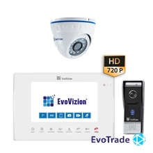 Комплект домофона EvoVizion VP-706AHD White + DP-05AHD cam