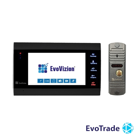Комплект домофона EvoVizion VP-701 Black + DP-03 Silver