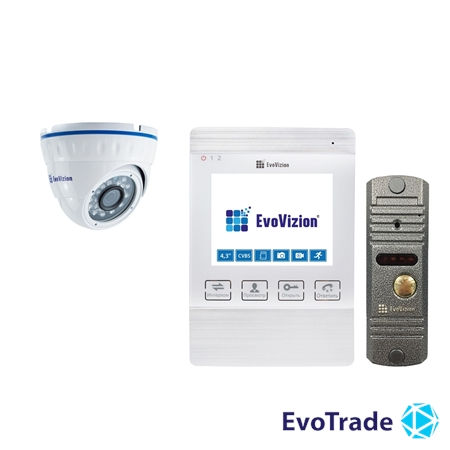 Комплект домофона EvoVizion VP-432 White + DP-03 Silver cam