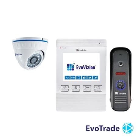 Комплект домофона EvoVizion VP-432 White + DP-04 cam