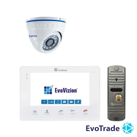 Комплект домофона EvoVizion VP-705 White + DP-03 Silver cam