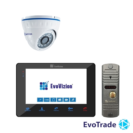 Комплект домофона EvoVizion VP-705 Black + DP-03 Silver cam
