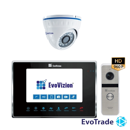Комплект домофона EvoVizion VP-706AHD Black + DP-06AHD cam