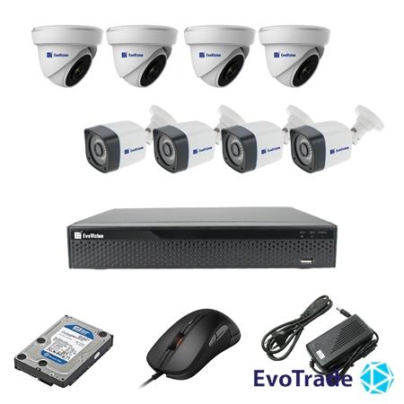 Комплект видеонаблюдения на 8 камеры EvoVizion 4DOME-4OUT-200 + HDD 2 Тб
