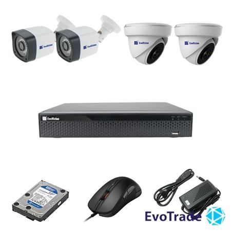 Комплект видеонаблюдения на 4 камеры EvoVizion 2DOME-2OUT-200 + HDD 2 Тб