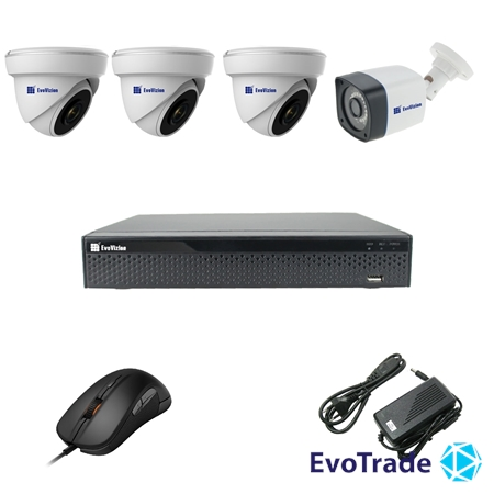 Комплект видеонаблюдения на 4 камеры EvoVizion 3DOME-1OUT-200