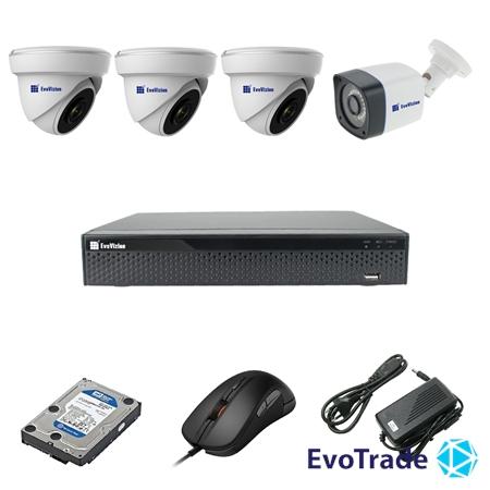 Комплект видеонаблюдения на 4 камеры EvoVizion 3DOME-1OUT-200 + HDD 1 Тб
