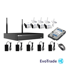 Комплект видеонаблюдения Wi-FI Evovizion на 4 камеры Wi-Fi KIT 2.4-846*4 + HDD