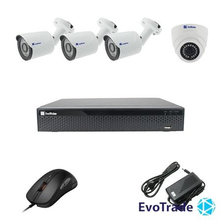 Изображение Комплект видеонаблюдения на 4 камеры EvoVizion 1DOME-3OUT-200