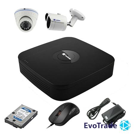 Комплект видеонаблюдения на 2 камеры EvoVizion N9 IP-1DOME-M-1OUT-130 + HDD 1 Тб