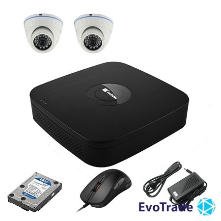 Комплект видеонаблюдения на 2 камеры EvoVizion N9 IP-2DOME-M-240 + HDD 1 Тб