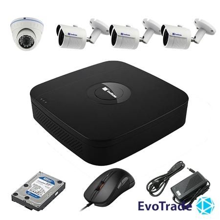 Комплект видеонаблюдения на 4 камеры EvoVizion N9 IP-1DOME-M-3OUT-130 + HDD 1 Тб