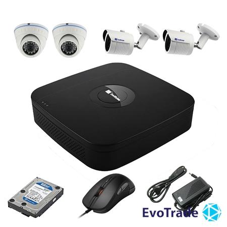 Комплект видеонаблюдения на 4 камеры EvoVizion N9 IP-2DOME-M-2OUT-130 + HDD 2 Тб