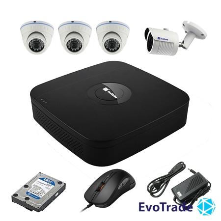 Комплект видеонаблюдения на 4 камеры EvoVizion N9 IP-3DOME-M-1OUT-130 + HDD 1 Тб