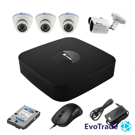 Комплект видеонаблюдения на 4 камеры EvoVizion N9 IP-3DOME-M-1OUT-240 + HDD 1 Тб