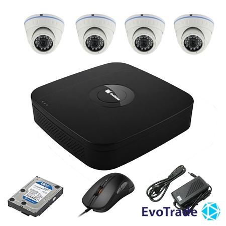 Комплект видеонаблюдения на 4 камеры EvoVizion N9 IP-4DOME-M-130 + HDD 1 Тб