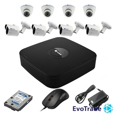 Комплект видеонаблюдения на 8 камер EvoVizion N9 IP-4DOME-M-4OUT-240 + HDD 1 Тб